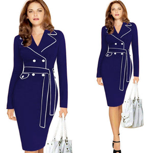 Women Ladies Long Sleeve Suit Collar Color Pencil Skirt Dress RD/XL