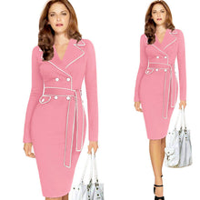 Load image into Gallery viewer, Women Ladies Long Sleeve Suit Collar Color Pencil Skirt Dress RD/XL