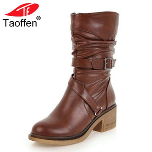 TAOFFEN Women Winter High Heels Boots With Strap And Buckle Warm Fur Shoes Woman Fashion Round Toe Mid Calf Boots Size 33-43