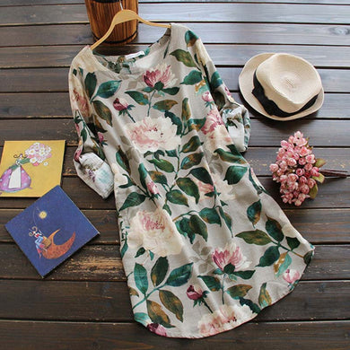 2018 Women's Flower Printed  Chinese  Style  Long Sleeve Cotton and Linen Loose Dress