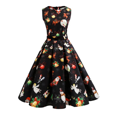 Women's mid calf  Christmas Pattern Vintage style Dress