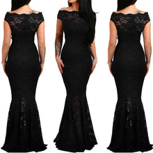 Load image into Gallery viewer, Party Bodycon Slim Lace Short Sleeved Fishtail off the shoulder Dress