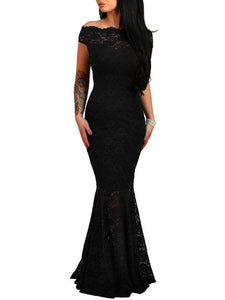 Party Bodycon Slim Lace Short Sleeved Fishtail off the shoulder Dress