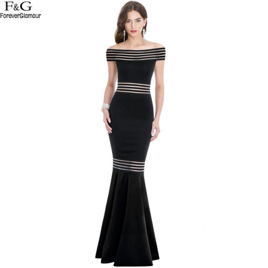 women's bodycon  maxi  Party Dress  with slash neck and fishtail
