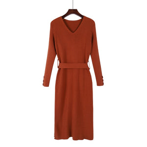 women's winter  Long Sleeve  V-neck  thick A line knitted Sweater Dress