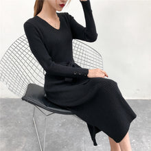 Load image into Gallery viewer, women's winter  Long Sleeve  V-neck  thick A line knitted Sweater Dress