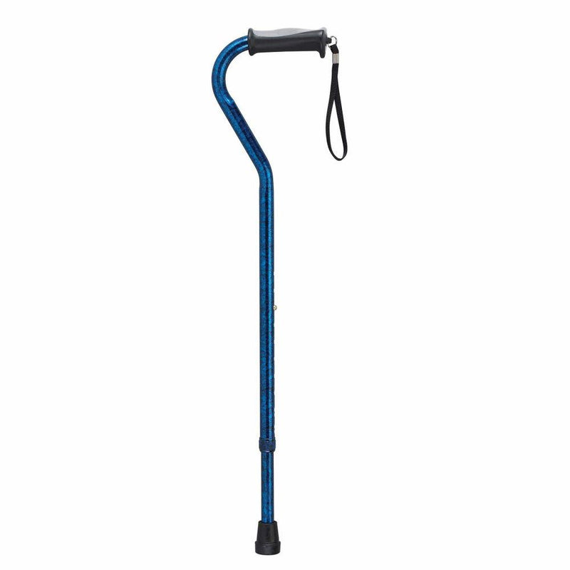 Adjustable Height Offset Handle Cane with Gel Hand Grip Blue