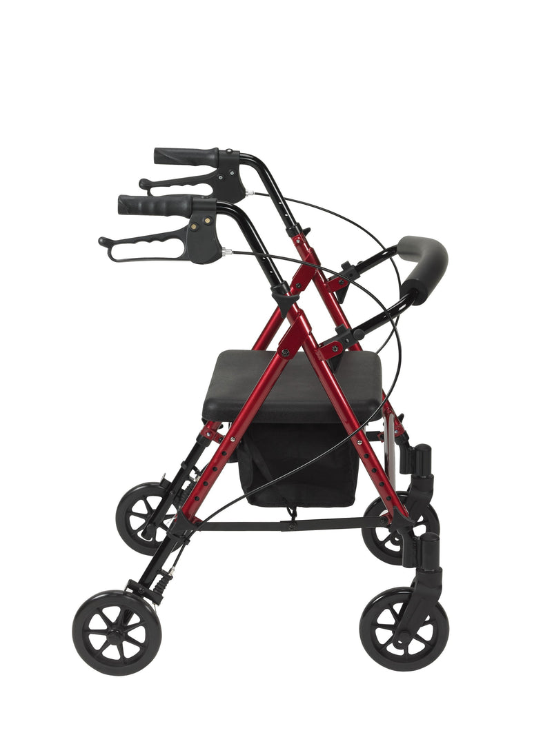 Adjustable Height Rollator Rolling Walker with 6 Wheels Red