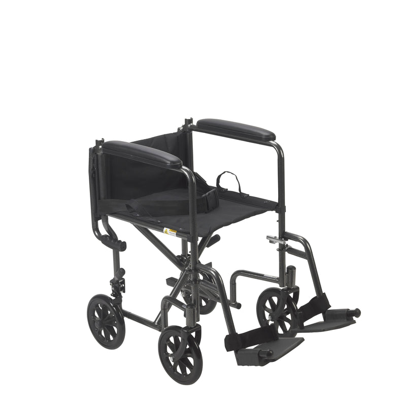 Lightweight Steel Transport Wheelchair Fixed Full Arms -