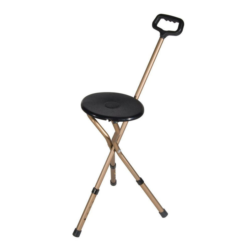 Folding Lightweight Cane Seat Adjustable Height Bronze -
