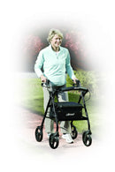 Rollator Rolling Walker with 6 Wheels Fold Up Removable Back