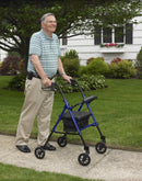 Adjustable Height Rollator Rolling Walker with 6 Wheels Blue