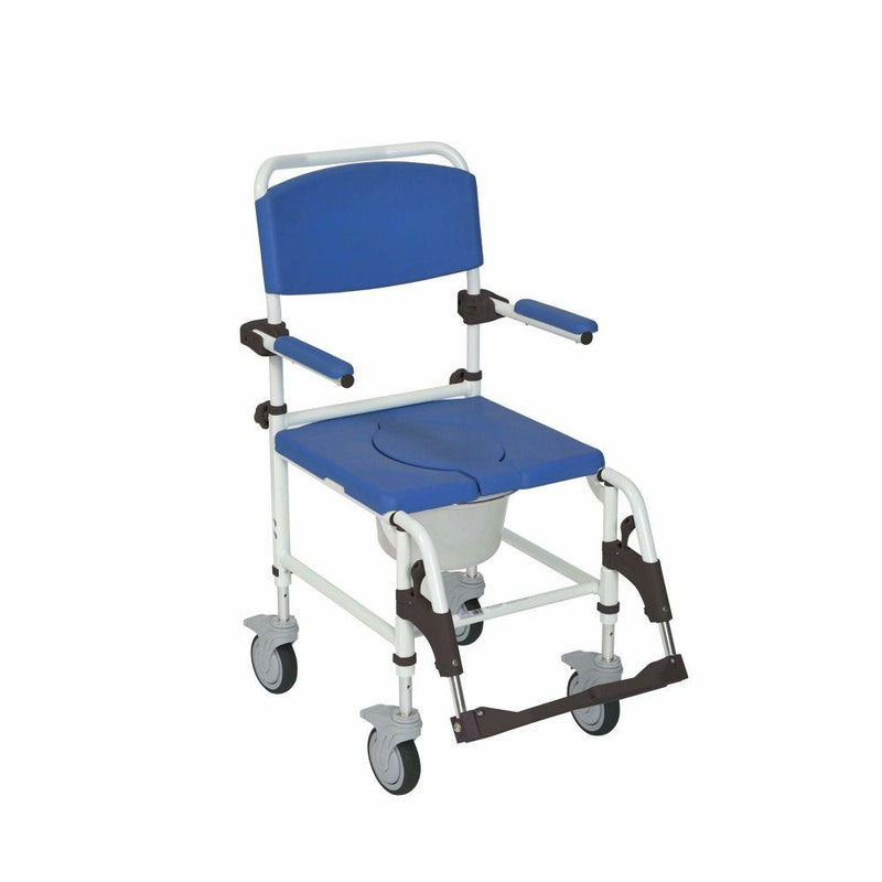 Aluminum Shower Commode Transport Chair - Commodes