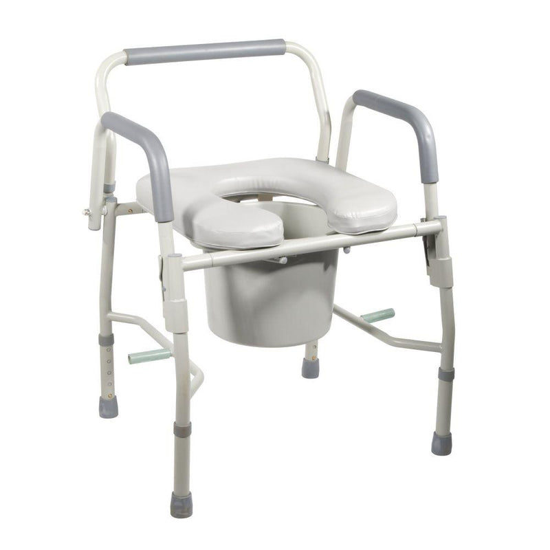 Steel Drop Arm Bedside Commode with Padded Seat and Arms -