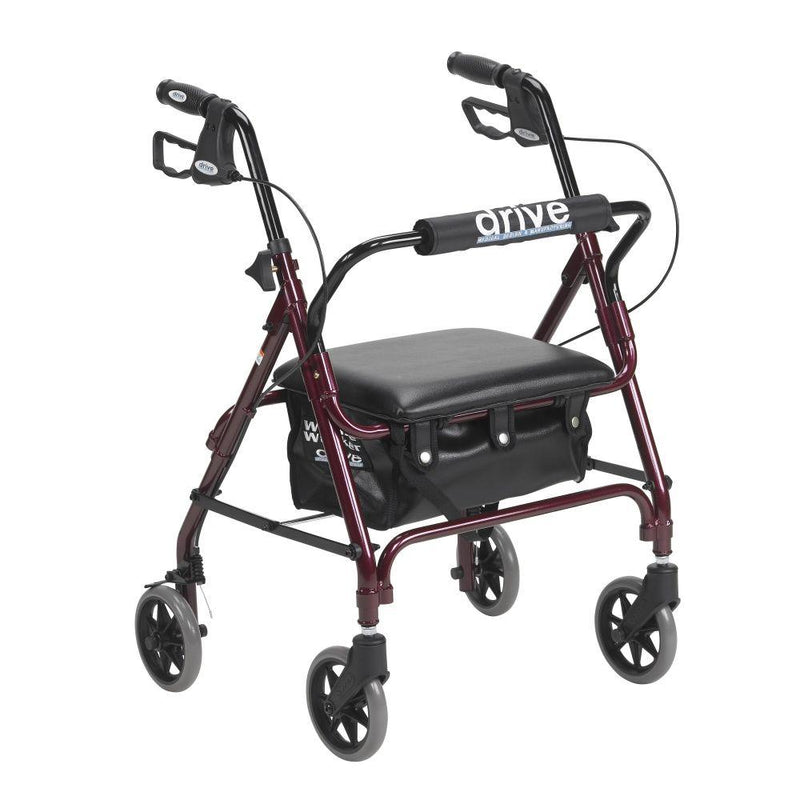 Junior Rollator Rolling Walker with Padded Seat Red -