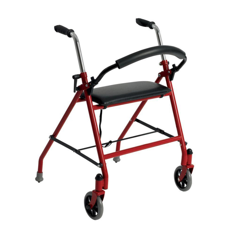 Two Wheeled Walker with Seat Red - Walkers
