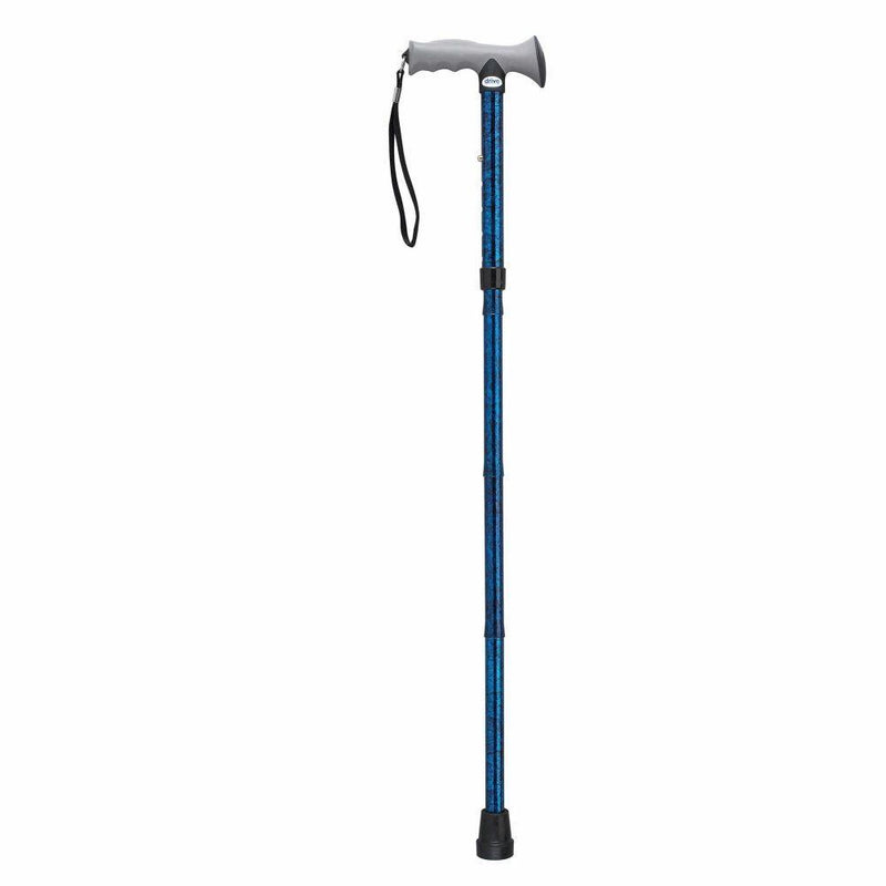 Adjustable Lightweight Folding Cane with Gel Hand Grip Blue