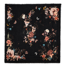 Load image into Gallery viewer, Floral Silk Modal Scarf Magic Blooms at Midnight