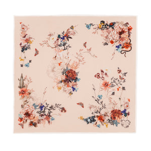 Floral Silk Modal Scarf Champagne Magic Blooms at Midnight