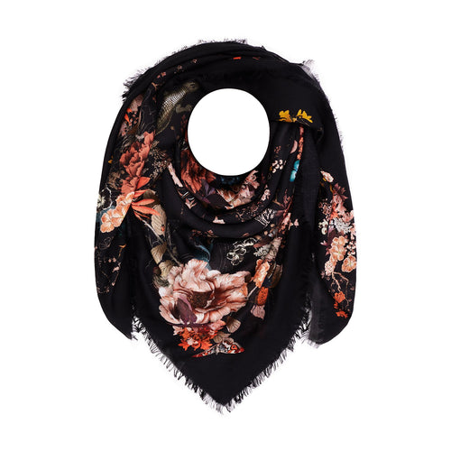 Floral Silk Modal Scarf Magic Blooms at Midnight