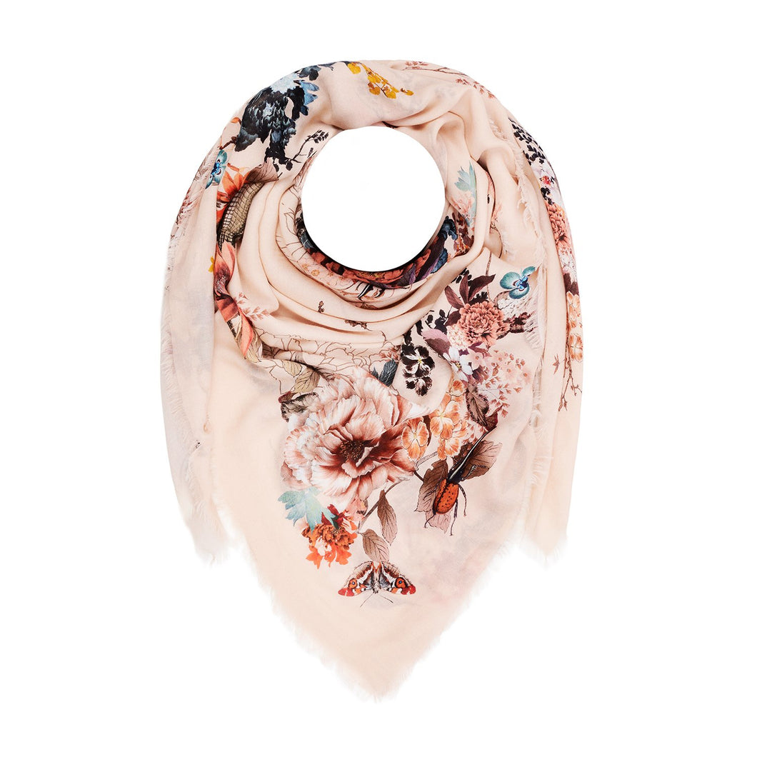 Silk Scarf floral modal scarf oversize botanical magic blooms at midnight