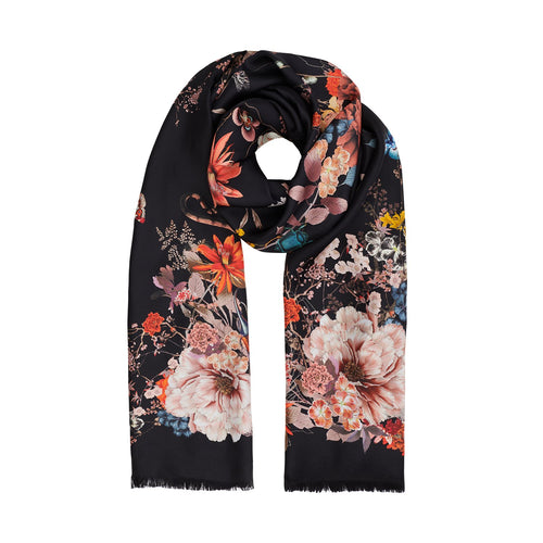 Floral long silk scarf on black