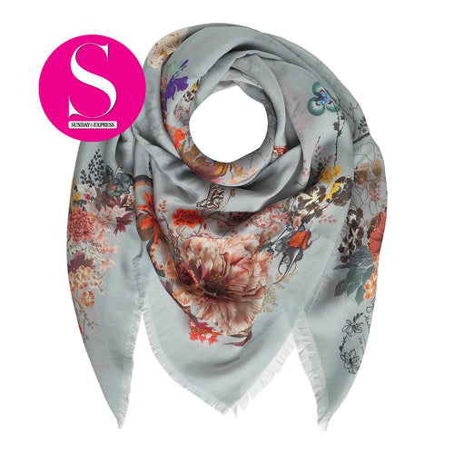 Floral Silk Modal Scarf Smoky Blue Magic Blooms