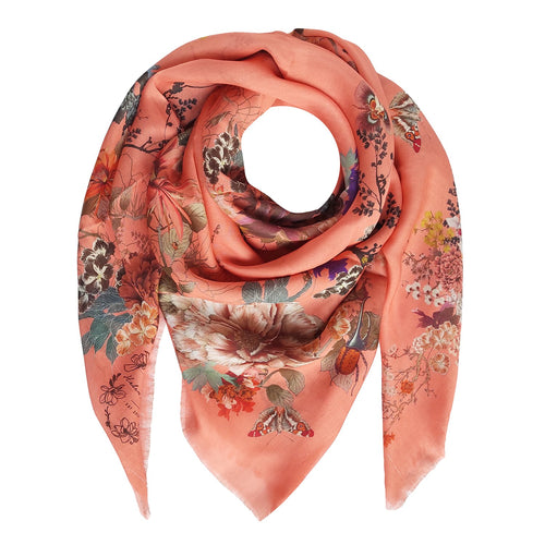 Floral Silk Modal Scarf Peach Melba Magic Blooms