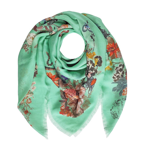 Floral Silk Modal Scarf Caribbean Sea Magic Blooms