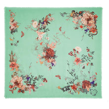 Load image into Gallery viewer, Floral Silk Modal Scarf Caribbean Sea Magic Blooms