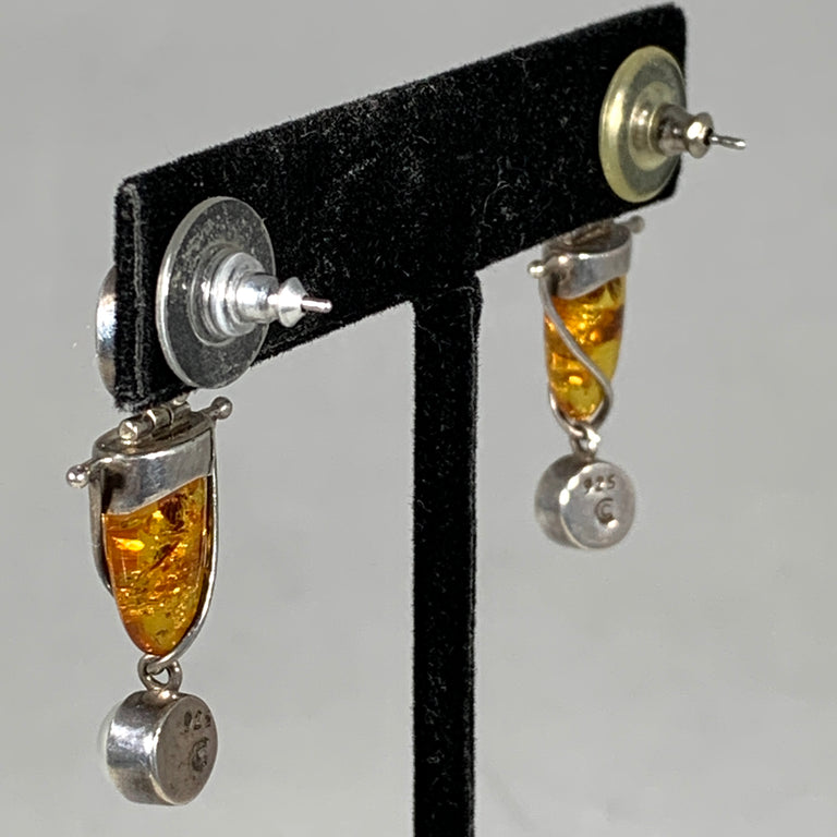 Amber, Garnet & Pearl Earrings