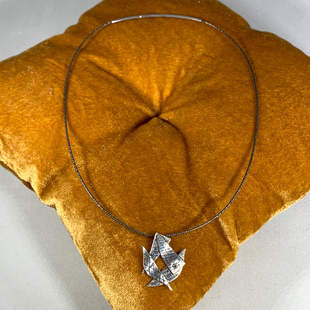 Contemporary Sterling/Diamond Necklace