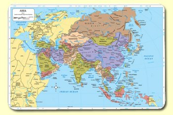 Map Of Asia Rivers.Asia Map Mat