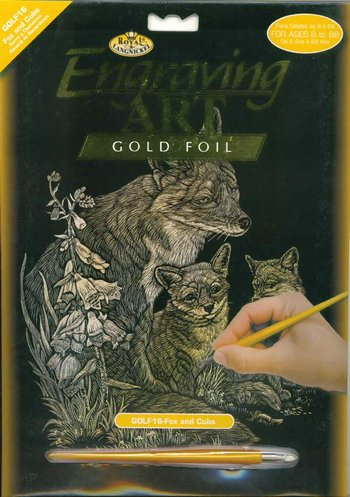 Gold Engraving - Fox & Cubs