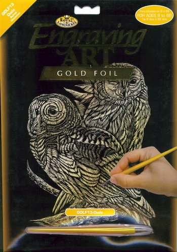 Gold Engraving - Owls