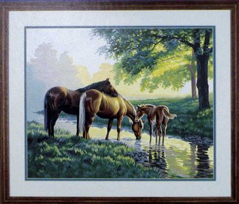 Horses by Stream