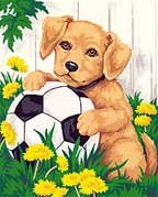 Puppy & Soccer Ball-Paintworks