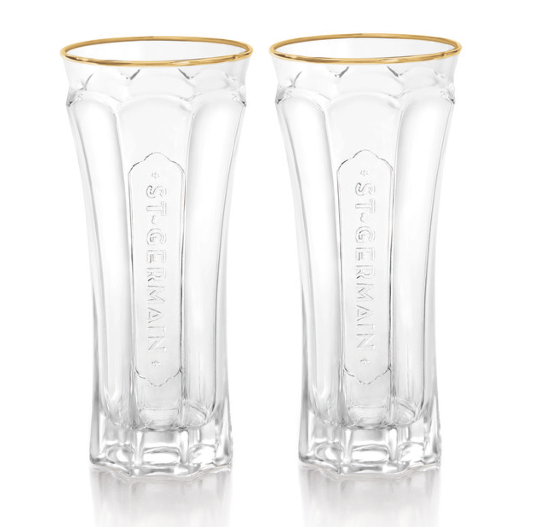 GOLD RIM GLASSES, SET OF TWO
