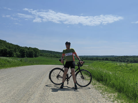 äventyr bicycle bags owner, Kurt, rides gravel in The Driftless Region.  Forestville, MN.