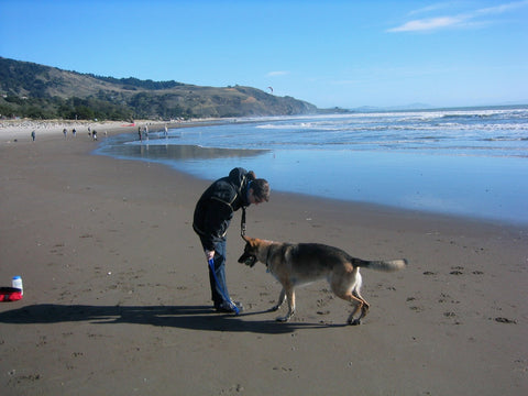 DeAnn, äventyr Owner, at Stinson Beach with friend Dunker 2004