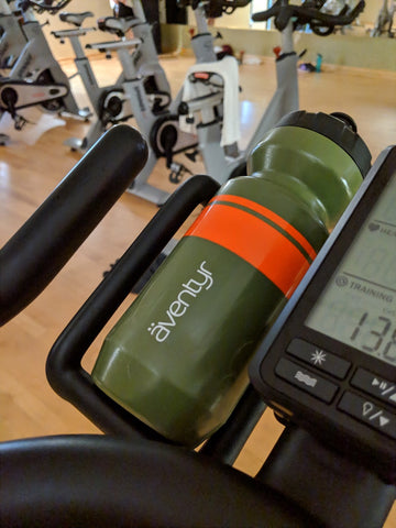 The äventyr Purist Water Bottle, great for Spinning class!
