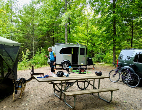 äventyr bicycle bags Campbiking at Two Lakes Campground near Cable, WI