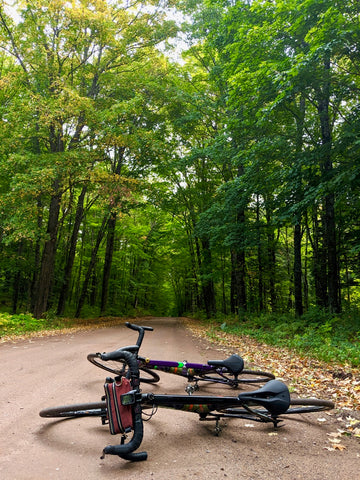 äventyr 1 & äventyr 2 with The Essential Handlebar Bag in the Hardwood Forest of the U.P. Michigan
