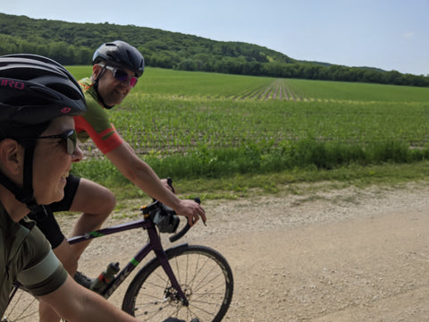 äventyr bicycle bags owners, DeAnn and Kurt, ride gravel in The Driftless Region.  Forestville, MN.