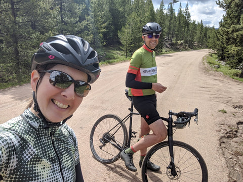äventyr bicycle bags owners DeAnn and Kurt gravel cycling in Bighorn National Forest Wyoming