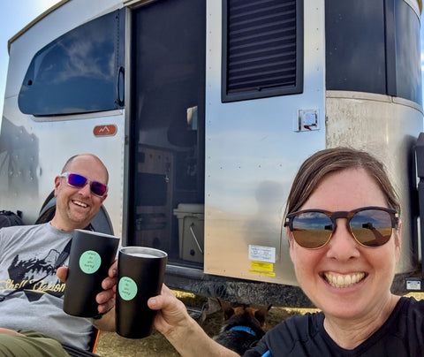 äventyr bicycle bag Airstream Basecamp off-the-grid camping boondocking dispersed camping The Badlands, South Dakota.  Happy Hour.