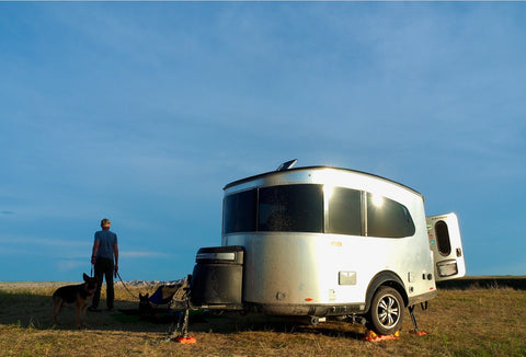 äventyr bicycle bag Airstream Basecamp off-the-grid camping boondocking dispersed camping The Badlands, South Dakota