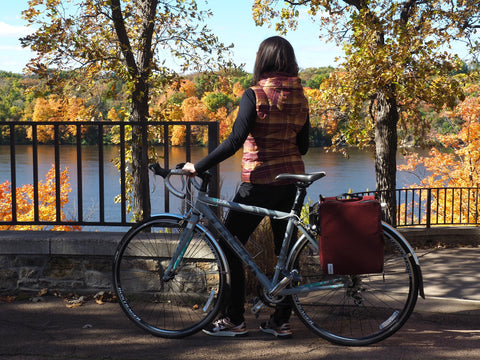 äventyr Bicycle Bags; a sustainable lifestyle.  The Side Hustle Bicycle Pannier Laptop Bag.