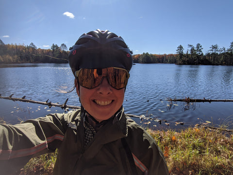 DeAnn, Owner + Creative director of äventyr bicycle bags gravel biking near Cable, Wisconsin