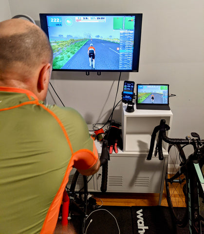 äventyr bicycle bags owner Kurt rides Zwift and TrainerRoad